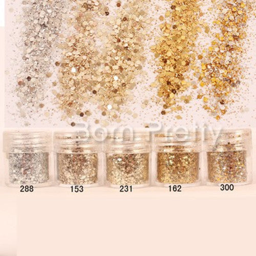 1 Box 10ml Mixed Nail Art Glitter Powder Champagne Gold Silver Sequins Super Makeup Glitter Nail Powder Set - Gifts Leads