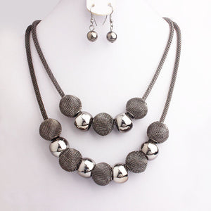 Fashion Handmade Net Beads Metal Layer Chain Jewelry Set Women Bijoux Necklace Earrings Costume Jewelry Party Gifts