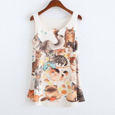 Summer fashion style 2016 New totoro print Sleeveless Tshirt women Loose plus-size women's t shirt One size tees camisetas tops