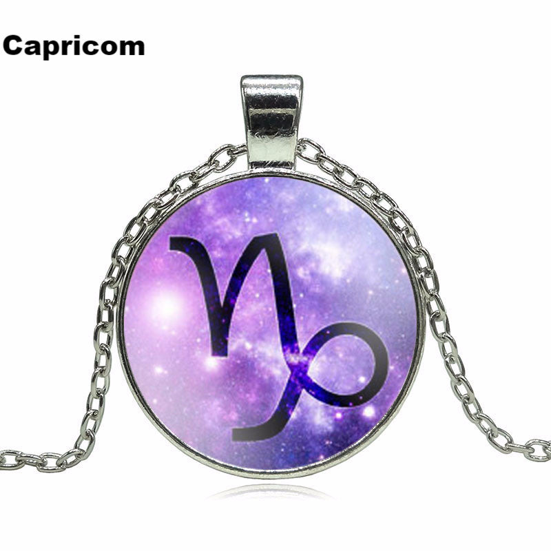 Fashion 12 Zodiac Pendant Necklace Glass Cabochon Accessories Sterling Silver Statement Chain Necklace for Women Jewelry