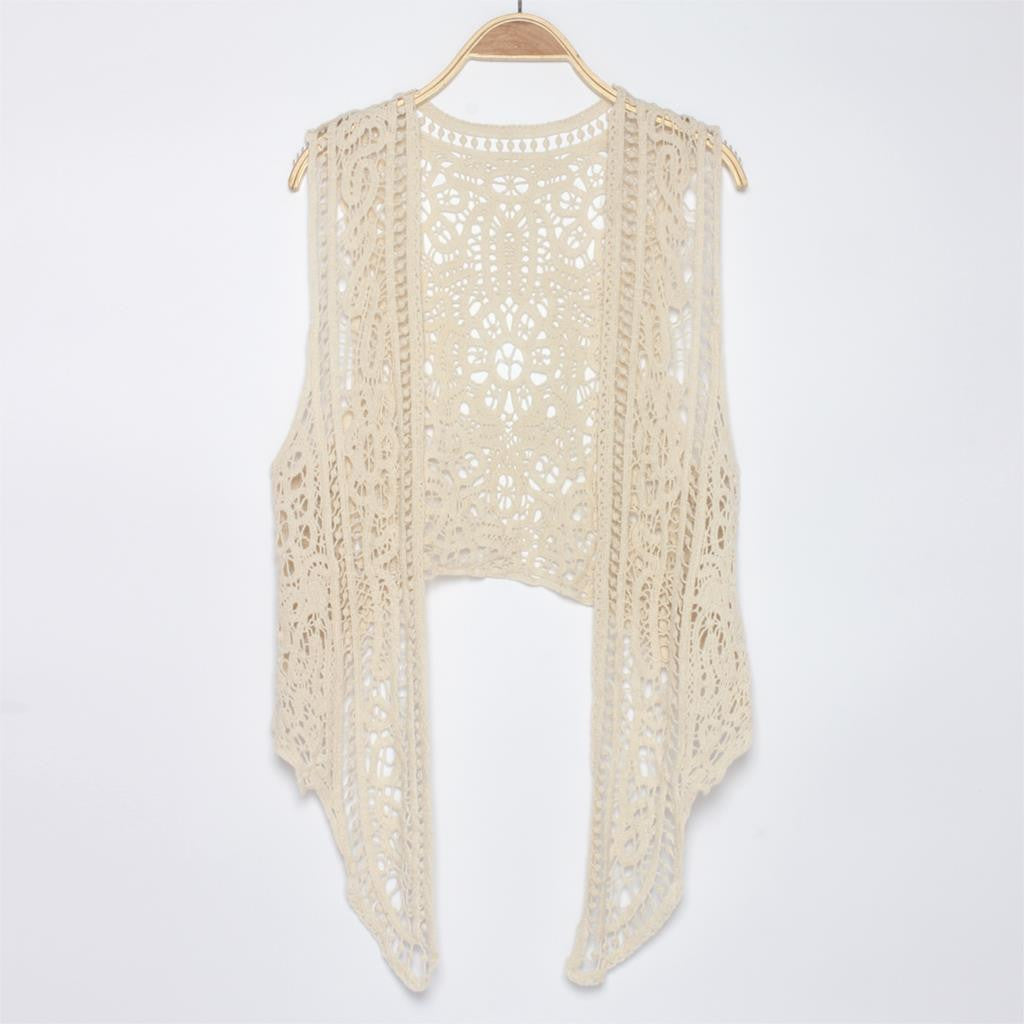 d88b3337b9398 Asymmetric Open Stitch Cardigan Summer Beach Boho Hippie people style  Crochet Knit Sheer Embroidery Blouse sleeveless