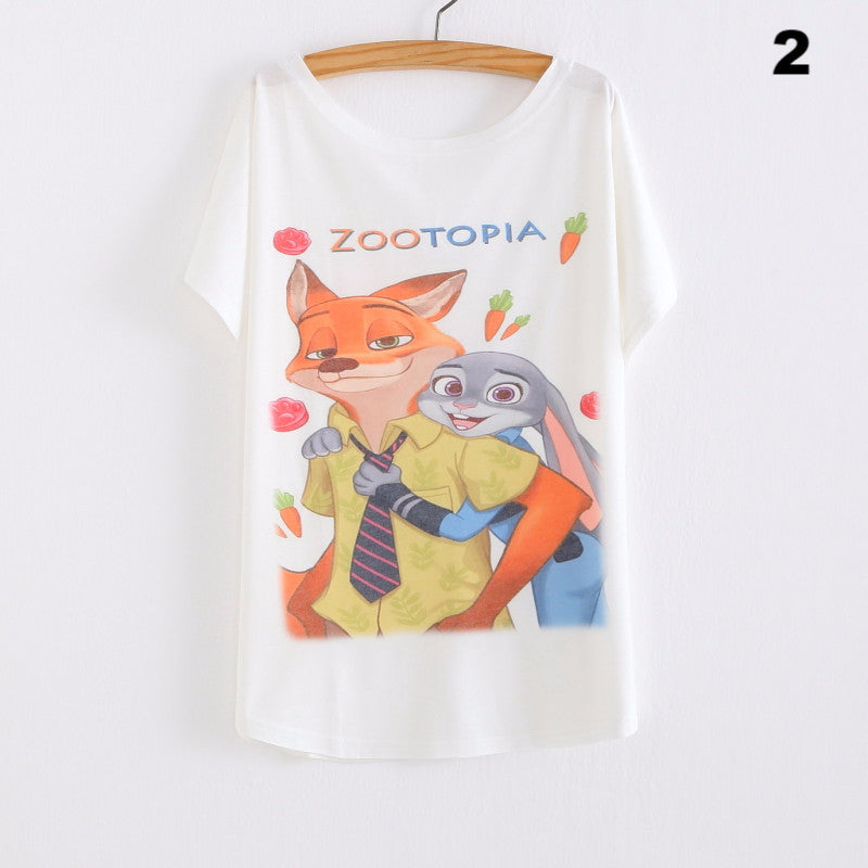 2016 Womens Clothes Fashion Summer plus-size T shirt Zootopia Printed Girls Cotton tees tops Female woman's T-shirt