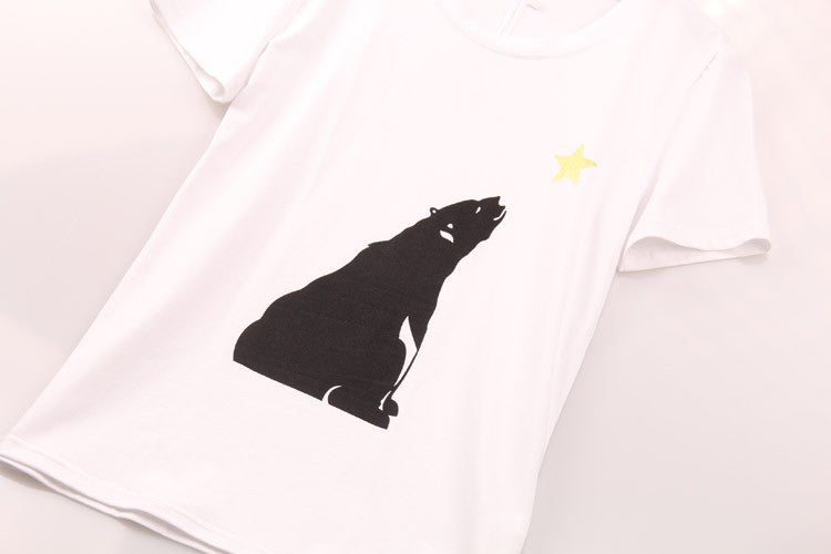 2 colors Summer 2016 T Shirt Women Polar Bear Printed Printing T-shirt Women Fashion Hot Sale Casual Tops Tee Shirt Femme Sakura - Gifts Leads