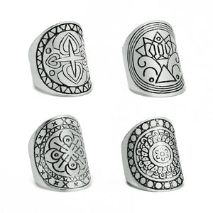 4pcs/set Bohemia Vintage Ring For Women  Punk Unique Carving Tibetan Silver