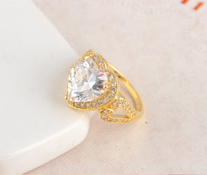 Big Heart Ring Real Platinum/18K Gold Plated Micro Pave Clear AAA
