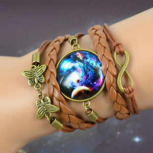 Cool Galaxy Bracelet Milky Way Glass Cabochons Brown PU Leather Butterfly Infinity Charms Pendant Friendship Gift