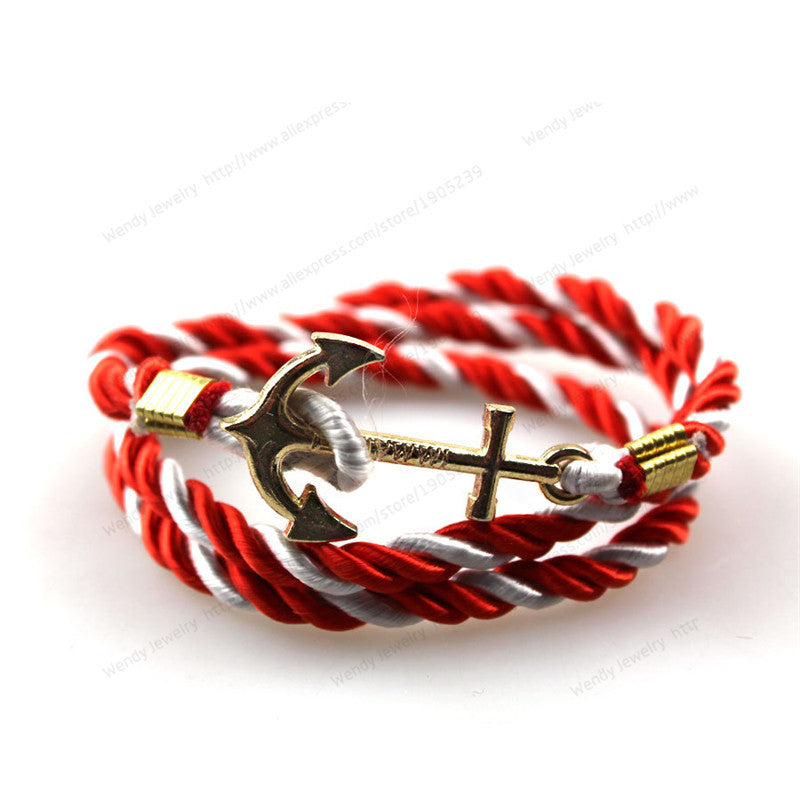 2016 New Arrive DIY Rope Black Blue Anchor Bracelet Fashion Women Men Hooks Bracelet & Bangle Hot Saling