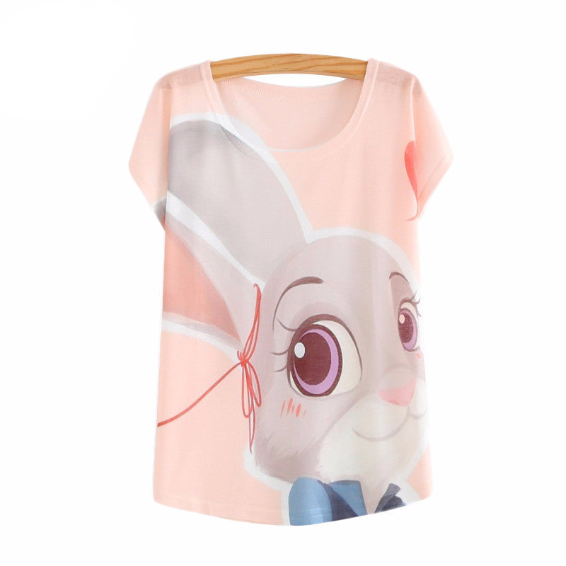 Zootopia New 2016 Women's T-shirt summer tees top Thin style Cute rabbit Judy print batwing sleeve T shirts women