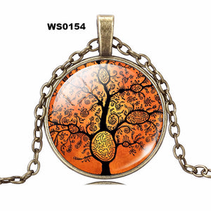 Life Tree Pendant Necklace Eternal Tree Art glass cabochon Bronze chain vintage choker statement Necklace Fashion women Jewelry