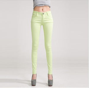 2016 new Autumn Winter candy colored slim fit pencil jeans