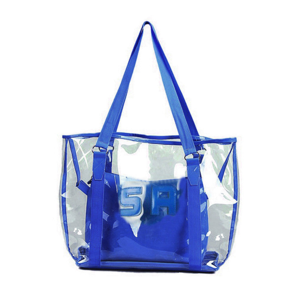 2016 Jelly Candy Clear Transparent Handbag Tote Shoulder Bags Beach Bag