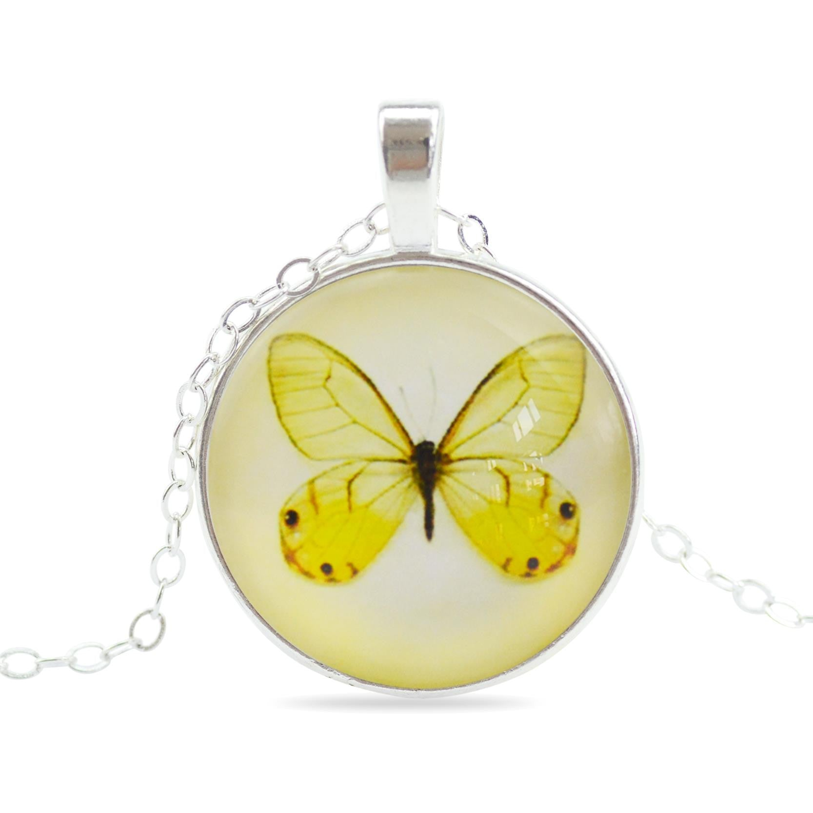 Vintage Glass Cabochon Pendant Necklace in Jewelry Fashion Butterfly Sterling Silver Statement Chain Necklace