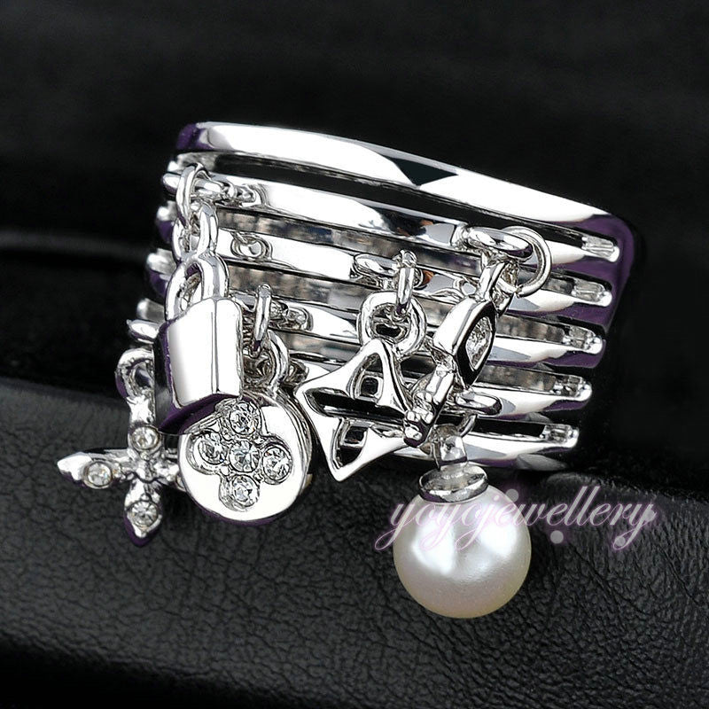 New Arrival  Fashion Key Ring pear and Lock adorns antique silver rings