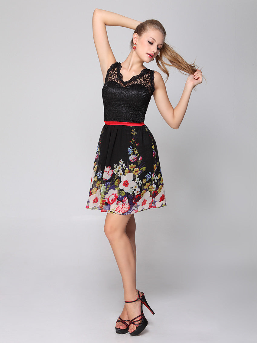 Padded Floral Printed Chiffon Lace Empire Line Party Dress