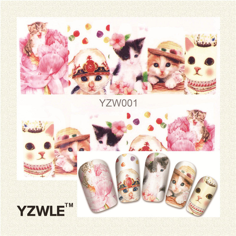 1 Sheet Cute Cat Nail Art Water Decals Transfer Stickers, Manicure Decor Tool Cover Nail Wrap Decal - Gifts Leads