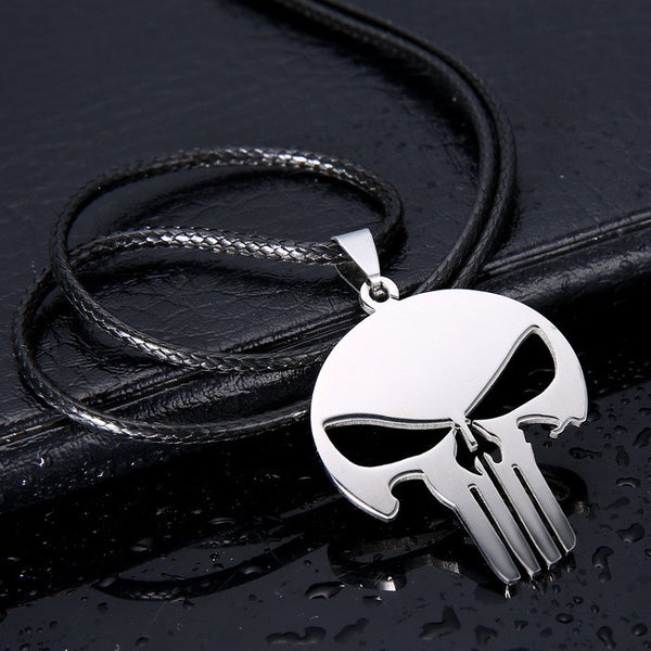 Fashion men Jewelry PUNISHER DARK KNIGHT skull Pendant 316L Stainless Steel necklaces & pendants Leather Chain