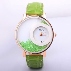 Watches Fashion Casual Moving Beads Crystal Quartz