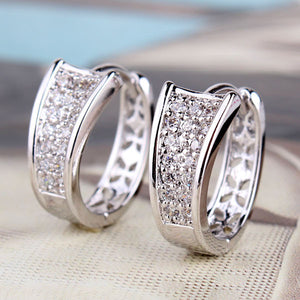 Brand 18K Gold Plated Hoop Huggie Earrings For Women Stone Crystal Earings Brincos Trend Jewelry Boucle D'oreilles