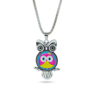 Fashion Owl pendant necklace newest glass cabochon necklace in jewelry vintage sterling silver statement chain necklace