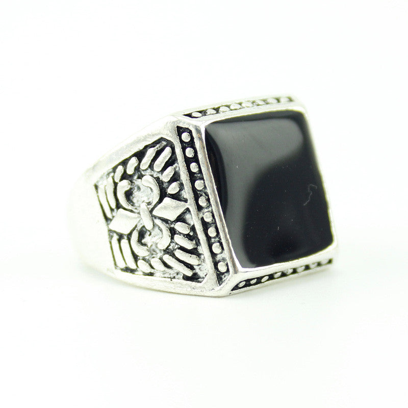 New Fashion Antique Silver Plated Unisex Punk Style Luxury Square Shaped