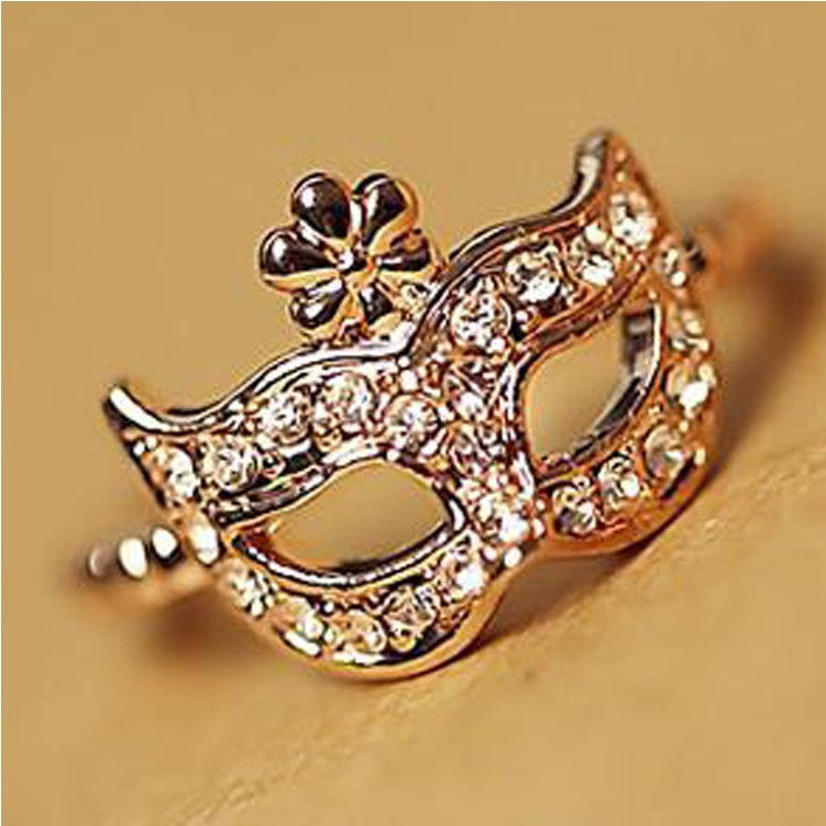 2015 New !!! Hot Fashion Fine Jewelry Wholesale 18 K Gold-plated Full Rhinestone Bohemian Style Mask Wedding Ring For Women R-80 - Gifts Leads