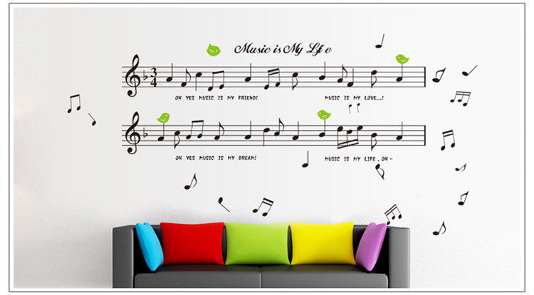 1set Large Size 70*120cm Music Sticker Music Is My Life Theme Music Bedroom Decor & Dancing Music Note Removable Wall Sticker - Gifts Leads
