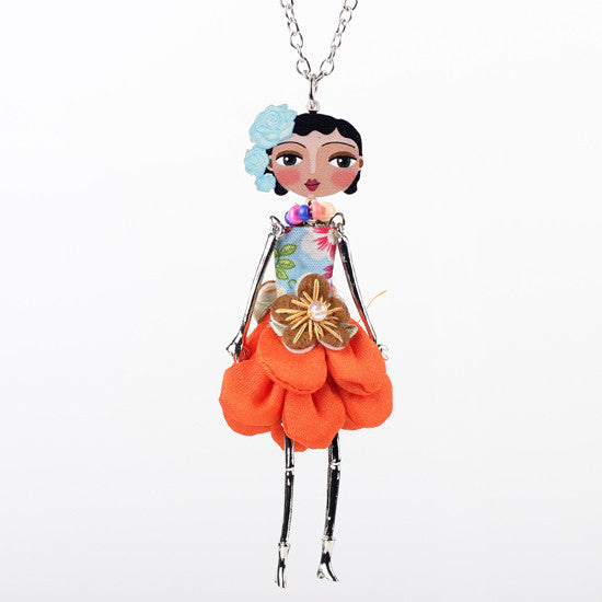 Bonsny doll necklace dress coral trendy new 2017 acrylic alloy cute girl women flower figure pendant fashion jewelry accessories