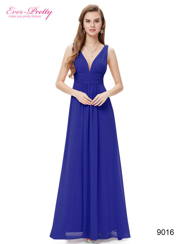 Hot Selling Double V Elegant Cristal High waist Long Evening Dress 2016 New Arrival