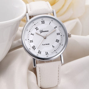 Geneva Luxury Roman Fashion Watch Women Dress Leather Quartz Man