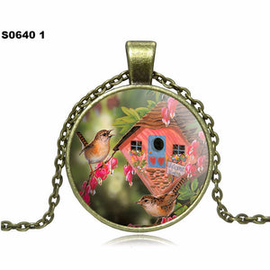 2016 Fashion Birdie Butterfly Pendant Necklace glass cabochon Vintage Bronze Accessories statement chain Necklace Women Jewelry - Gifts Leads