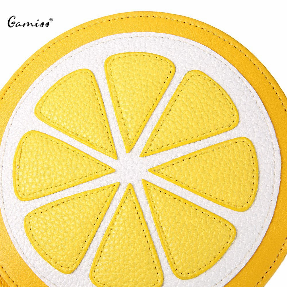 2016 New Arrival Shoulder Dual Purpose Mini Bags Ladies Round Lemon Pattern Zipper Crossbody Women Messenger Bags Satchel Purse