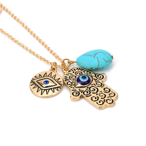 Vintage Multilayer Gold Chain Fatima hamsa Hand Pendants Necklace Luck Hand Turquoise Palm Statement Necklace collares 2016