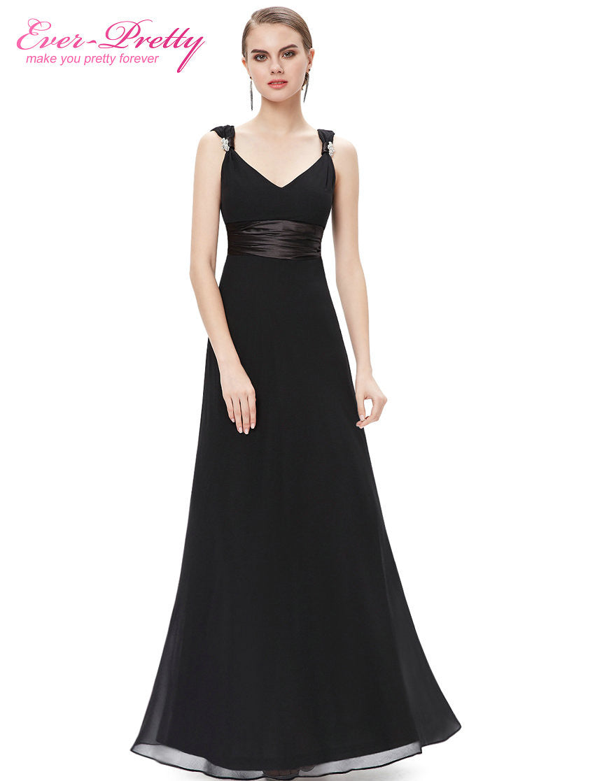Sexy Double V-neck Diamantes Chiffon Evening Dress