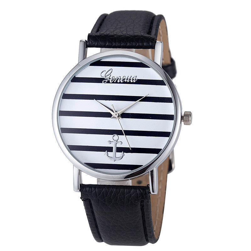 Geneva Watch Women Striped Anchor Analog Leather Anchor