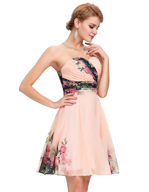 Grace Karin 2016 Stock Women Fashion Summer Vintage Flower Pattern dresses Formal Party Gowns Short Cocktail dress 2016