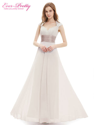 V-neck White Sequins Chiffon Ruffles Empire Line long evening dress