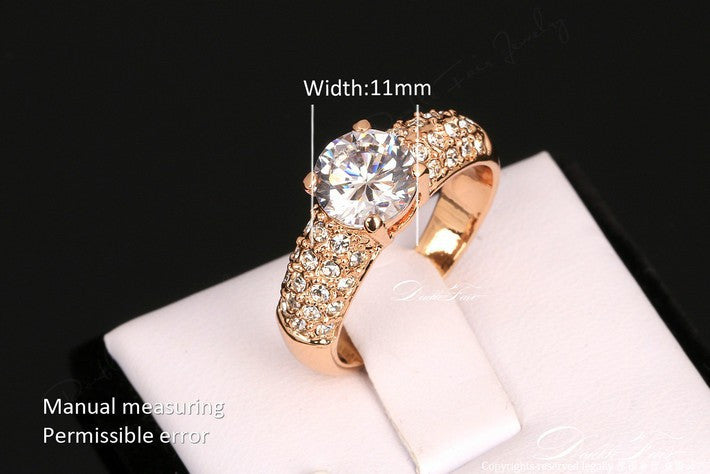 Classical Design Wedding Rings CZ Diamond Inlaid Crystal Paved 18K Gold Plated