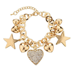 Fashion Heart Beetle Charm Bracelets Bangles For Women Real Gold Plated Bracelet Austrian Crystal Chain Pulseras
