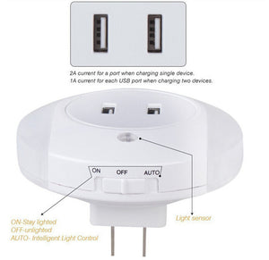 Smart Design LED Night Light with Light Sensor and Dual USB Wall Plate Charger Perfect for Bathrooms Bedrooms Etc