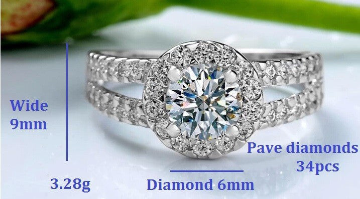 Fashion Zirconia Stone Silver Rings for Women Engagement Girls Valentine's