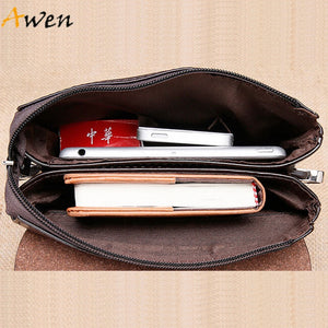 Awen-hot sell brand POLO solid double pocket soft leather men