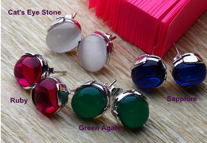 Luxury Semi-Precious Stone,Green Agate,Cat's Eye's Stone,Sapphire,Ruby,925 Sterling Silver,Stud Earrings For Women OE33