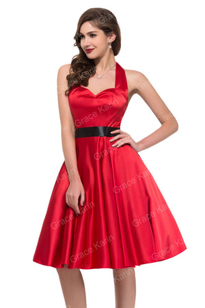 Vestidos Coctel 2016 Cheap Vintage Cocktail Dresses Short Backless Prom Dress with Sashes Black Red Purple Robe de Bal 6046