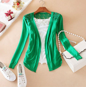 Women Candy Color Irregular Hem Long Sleeve Slim Thin Lace Hollow Out jacket Women Knitted Cardigan Sweater Tops