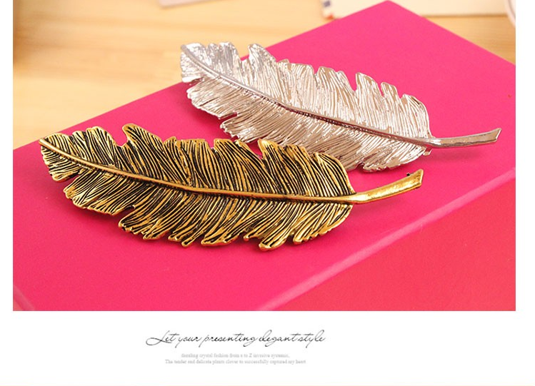 2016 European Vintage gold Silver Metal Leaves Feather Hair Clips Barrettes Hairpin Hair Jewelry for women Brincos nice gift