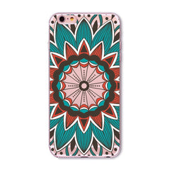 Case For iPhone 7 6 6S 5 5S SE 7lus 6Plus 6sPlus 4 4S 5C Colorful Floral Paisley Flower Mandala Henna Clear Silicone Soft Cover