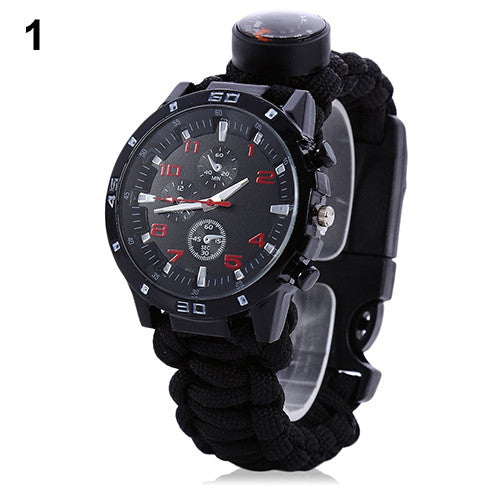 Multifuctional Survival Bracelet Thermometer Flint Fire Starter Gear Watch