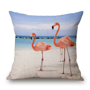 Pink Flamingo Series Printed Square Cotton Linen Cushion Cover Decorative Sofa Flamingo Cushion Pillowcase Throw Pillow Cover
