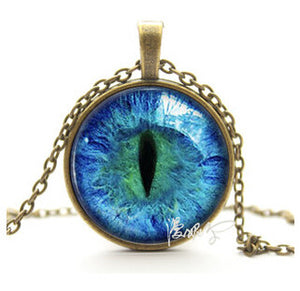 2017 Vintage Jewelry Wholesale Blue Green Cat Eye Necklace Pendant Fashion Charming Rhinestone Ethnic Necklace for Men Women