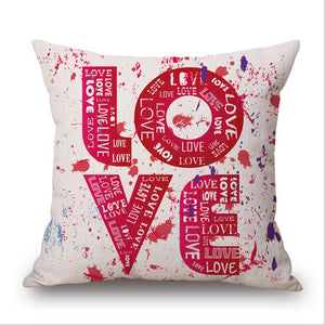 Pillowcase LOVE His and Hers Side Pillow Case Cotton Linen 18X18 Inches Valentine's Gift Wedding Throw Pillow Covers